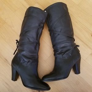 KORS Michael Kors Leather Tie Up Knee High Boots